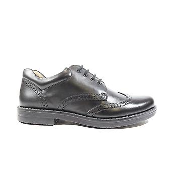 Petasil Moses Black Leather Boys Lace Up Brogue School Shoes