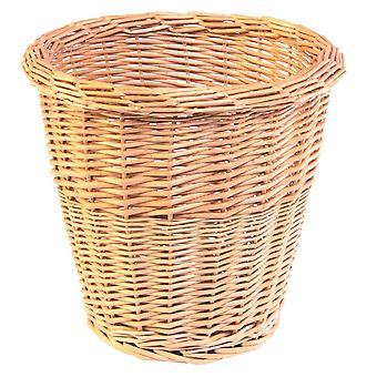 Buff Willow Round Wicker Waste Paper Bin