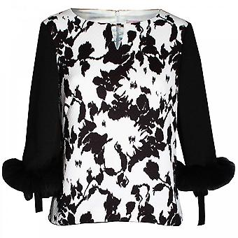 Paola Collection Black & White 3/4 Fur Sleeve Top