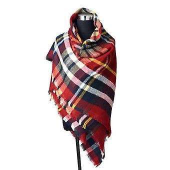 Womens large plaid wool cape style scarf