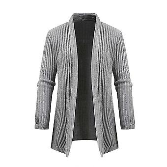 Allthemen Men'S Lapel Mid-Length Thermal Sweater Cardigan