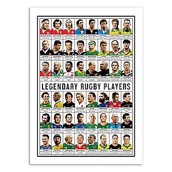 Art-Poster-legendarische rugby spelers-Olivier Bourdereau 50 x 70 cm
