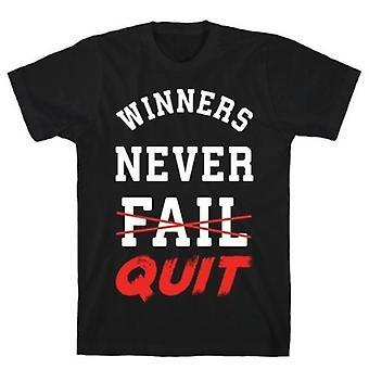 Les gagnants n'abandonnent jamais le t-shirt noir