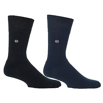 Mens Blue Stripe Cushion Foot Honeycombe Top Gentle Grip Sock By Sock Shop 4pk