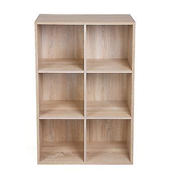 Bücherregal mit 6 Boxen - weiß oder Eiche