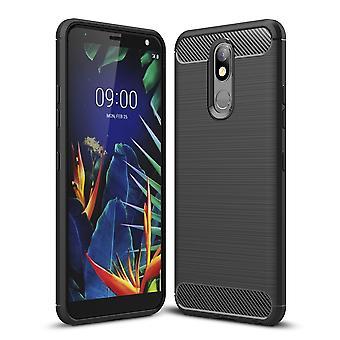 LG K40 TPU Case Carbon Fiber Optics geborsteld beschermende Sleeve zwart