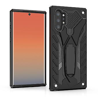 Voor Samsung Galaxy Note 10+ Plus Case Black Armour PC+TPU Tough Armor Back Shell