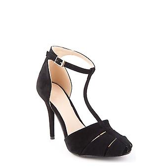 Suede T Bar Heels In Black