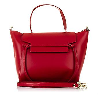 FIRENZE ARTEGIANI. Tote bag real leather woman. Tote leather shoulder bag authentic Tamponato soft touch. Luxury. MADE IN ITALY. REAL ITALIAN SKIN. 34 x 23 x 16 cm. Color: Red