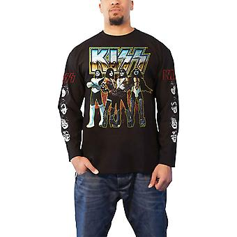 Kiss T Shirt Love Gun Chrome Band Logo new Official Mens Black Long Sleeve
