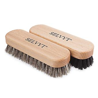 Selvyt Small Premium Horsehair Buffing Brush Black and Neutral shoes or boots