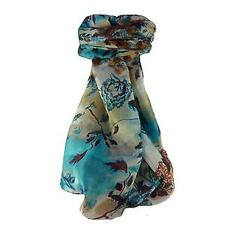 Mulberry Silk Contemporary Long Scarf Jayant Aqua by Pashmina & Silk