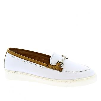 Women's handmade bit loafers shoes in white calf leather