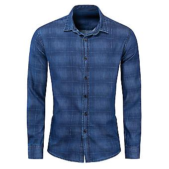 Allthemen Men's Kariertes Hemd Lose Fit Blau Langarm Denim Bluse