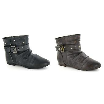 Cutie Girls Flat Buckle Strap Studded Ankle Boots