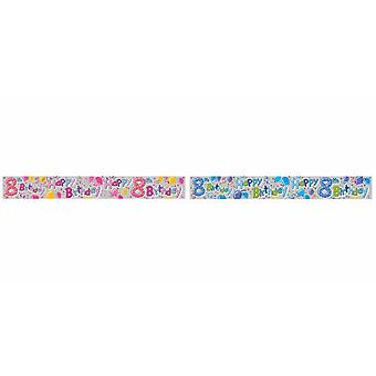 Expression Factory Childrens/Kids Happy 8th Birthday Holographic Foil Banner