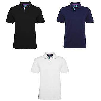 Asquith & Fox Mens Check Trim Polo-Shirt