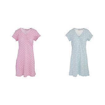 Womens/Ladies Lightweight Cotton Polka Dot/Butterly Patterned Nightie