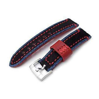 Strapcode leather watch strap 22mm miltat zizz collection brown fur & calf watch strap red wax hand stitching