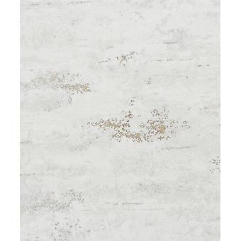 Industrial Concrete Stone Wallpaper Metallic White Gold Textured Vinyl Rustic