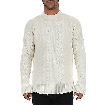 Laneus Mgu735cc14panna Men's White Wool Sweater