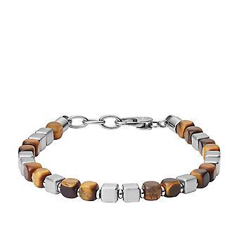 Fossil bracelet JF03132040 - MENS DRESS Silver Steel? IT OF TIGRE Brown Men
