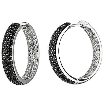 Hoop earrings 925 sterling silver with cubic zirconia black and white earring kitchen