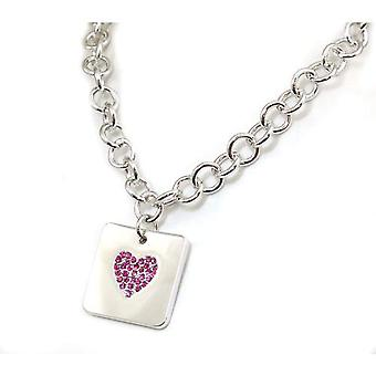 Foxy Pink Rhinestone Heart Square Charm Silvertone Necklace with T-Bar - 16 Inch