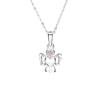 Jo For Girls Sterling Silver Angel Pendant Necklace with Simulated October Birthstone