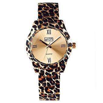 Eton Womens Gold Tone Leopard Print Bracelet Fashion Watch 3256L-LPGD