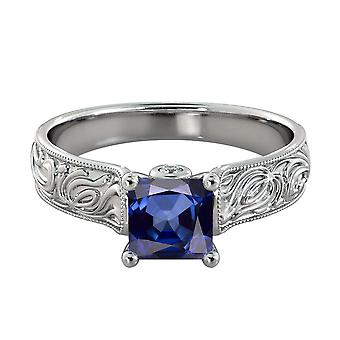 2.06 ctw Blue Sapphire Ring with Diamonds 14K White Gold Filigree Cathedral Princess