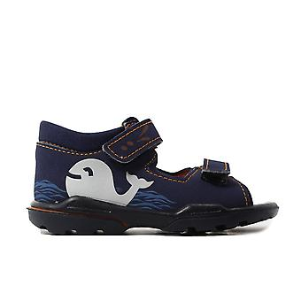 Ricosta Frankie 3223400-181 Navy Boys Rip Tape Closed Back Sandals