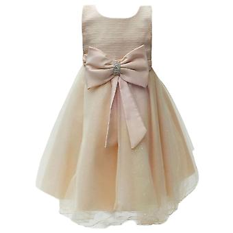 Girls Chapmagne Big Bow Diamante Wedding Bridesmaid Formal Party Dress