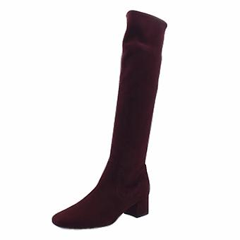 Peter Kaiser Tomke Pull On Stretch Knee High Boots In Cabernet Suede