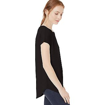 Daily Ritual Women's Cozy Knit Dolman-Sleeve Boat-Neck Shirt, Black, Small