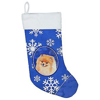 Pomeranian vinter snøflak snøflak ferie julestrømpe LH9305