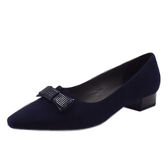 Peter Kaiser Leah Pointed Toe Low Heel Courts In Notte Suede