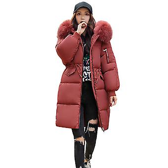 Womens Faux Fur Trim Hooded Midi Cotton Down Puffer Parka Winter Coat
