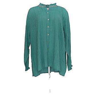 LOGO door Lori Goldstein Women's Plus Top Woven Gauzy Cotton Green A350599