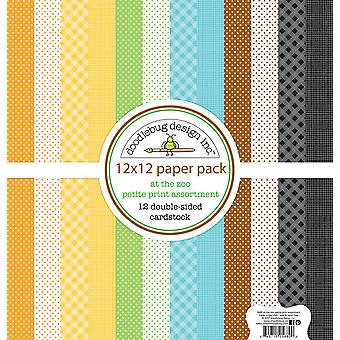Doodlebug Design Au Zoo 12x12 Inch Petite Print Paper Pack