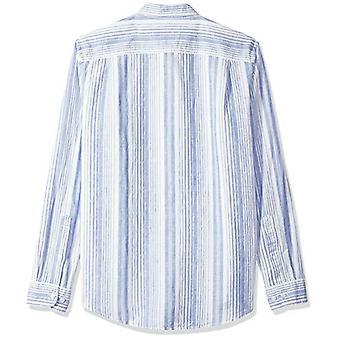 Essentials Men's Slim-Fit Camisa de linho listrado de manga comprida, azul, médio