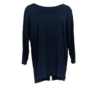 Susan Graver Women's Top Liquid Knit Top Navy Blue A374102