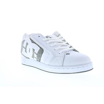 DC Net  Mens White Leather Lace Up Skate Sneakers Shoes
