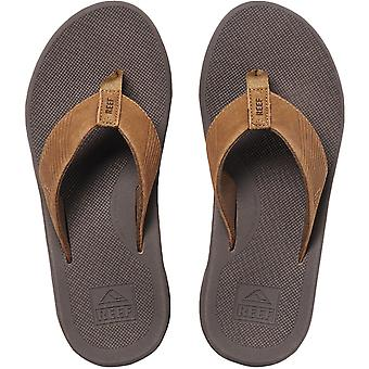 Reef Mens Leather Phantom II Slip On Summer Beach Flip Flops Sandals - Bronze