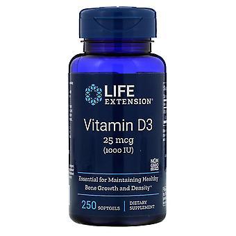 Estensione della vita, vitamina D3, 25 mcg (1.000 IU), 250 Softgels
