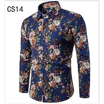 Men's Autumn Printed Shirts Male Slim Fit Long Sleeve Shirt Men Floral Print Casual Shirts