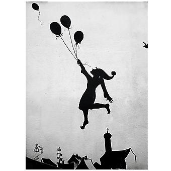 Stampa su tela - Flying Balloon Girl - Quadro su Tela, Decorazione Parete