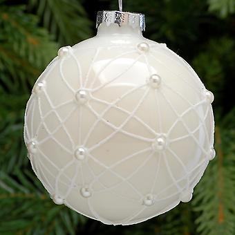 Einzelne 8cm Glanz weiß Kugel mit Glitter und Perle Design