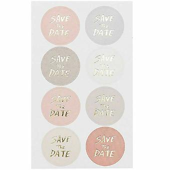 Save the Date Stickers x 32 Mix Colour and Gold Weddings Party Craft