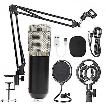 Condenser Audio 3.5mm Wired Professional Studio Microphone For Radio Braodcasting Singing Mic Holder